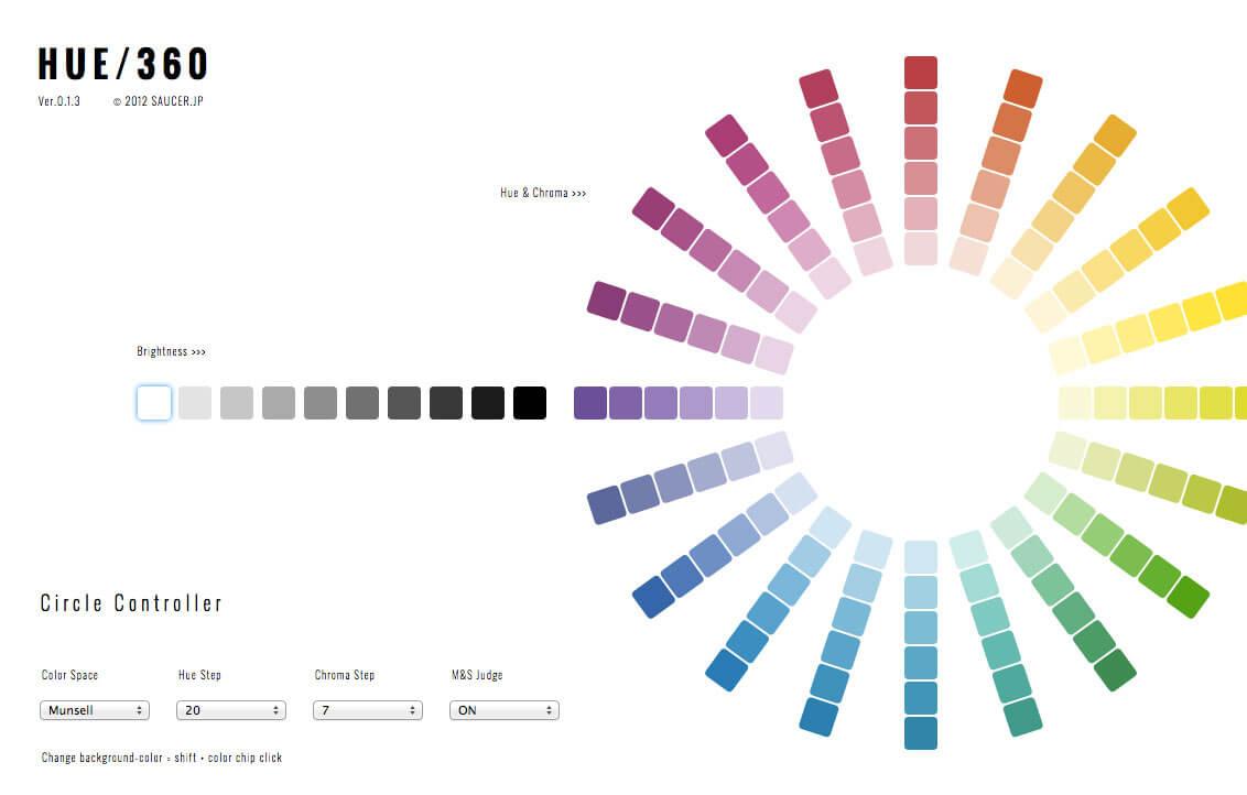 配色ツール、 HUE / 360について