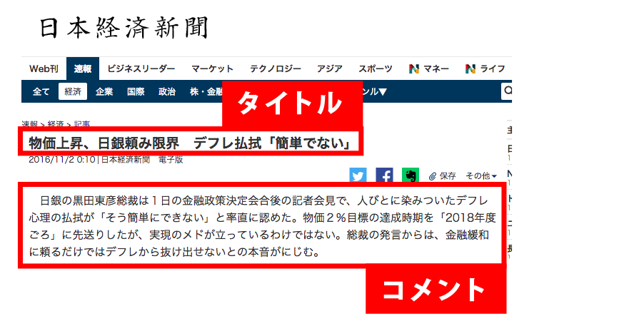 日本経済新聞のフォントイメージ