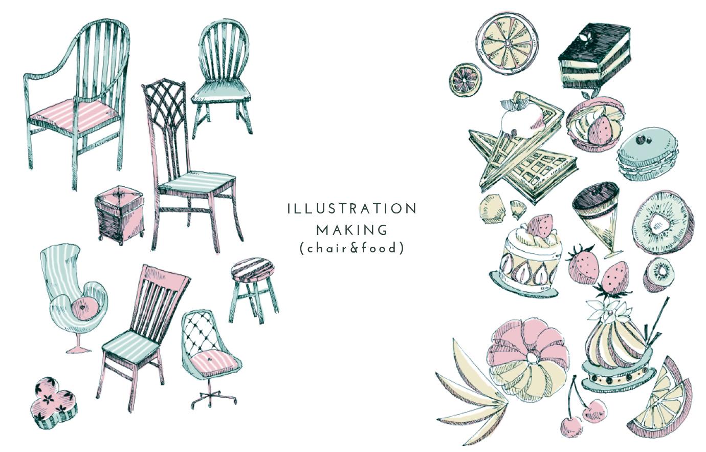 イラストメイキング、挿絵の書き方。サイト制作や印刷物制作にさらっと入れる食べ物やインテリアの挿絵の描き方。
